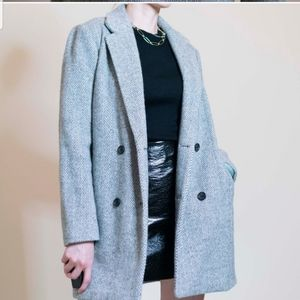 Madewell Gray Herringbone Wool Blend Coat Sz M